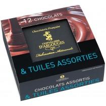 Coffret prestige assortiment chocolats et tuiles 240 gr