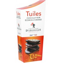 Dark Chocolate Tuiles with pieces of Oranges
