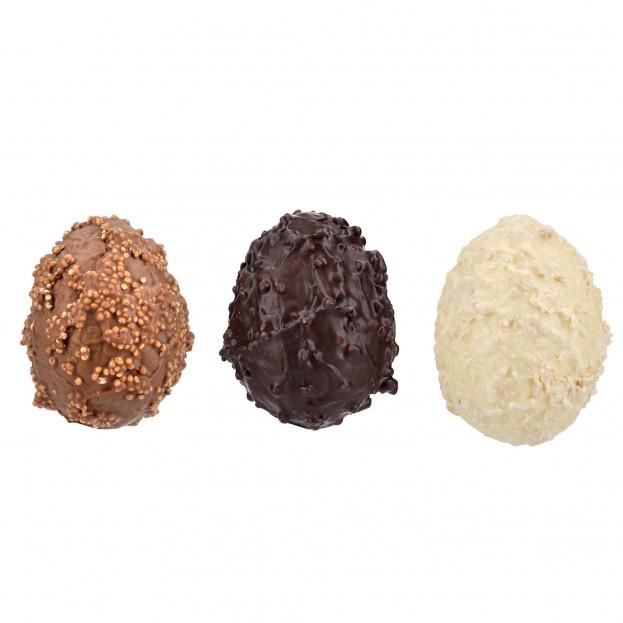 Assortiment d'œufs Granités Lait, Blanc et Noir 240g