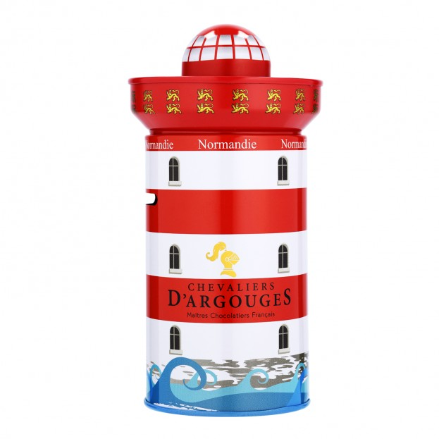 Lighthouse box filled of Apples chips coated with Chocolate 100g